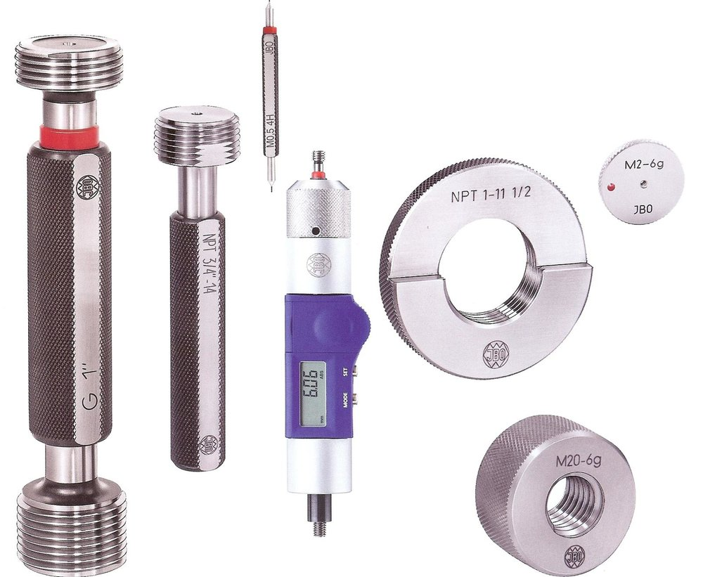 - Stocdon offers the JBO range of Standard Stocked Thread Gauges from Europe's No. 1 producer, with over 10,000 different stock items, using hi-tech manufacturing process to assure quality and price. The gauges are all manufactured in AGE Hard tool steels and this gives us super quality and better usage life.From Plug Thread Gauges to Ring Gauges and Multicheck, we carry a huge range, and offer TICN Coated Thread Gauges and Hard Chrome coated Thread Gauges. JBO thread gauges are all backed up by German DIN Standard or UKAS Thread Gauge Certificates. For a complete measuring solution, MULTICHECK Thread Gauges enable length and diameter checking.The MULTICHECK programme is offered with sleeve.Vernier,Digital systems for reading lengths and now the eMULTICHECK is available with powered automatic control for depth.