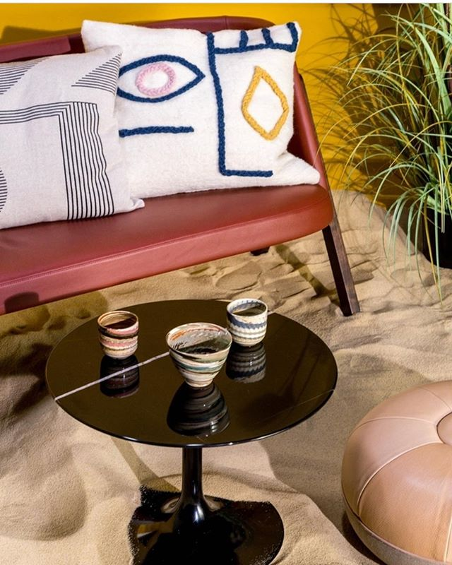 Another repost today from our wonderful stockist @lebonmarcherivegauche Our stripe shape cushion looking good in this summery set up! . . . #lebonmarche #summer #cushion #styling #interiors #homeware #colour #sand #indoorsoutdoors