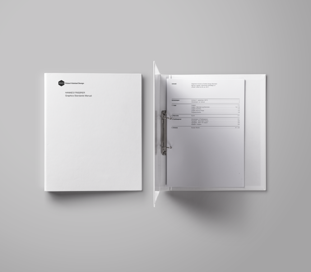 Graphics Standards Manual - Download a comprehensive file outlining every single element created for Hannes Frisører.