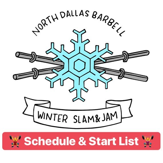 ❄️ Winter Slam & Jam Update❄️ 10 days to go - start list and schedule are available! Check out the Meet Info link in bio. #localmeet #usaw #northdallasbarbell