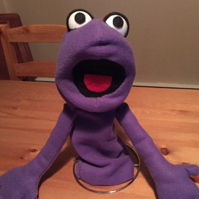 My first handmade puppet, Dougie. He was made for about $20 out of materials I found at Jo-Ann Fabrics.