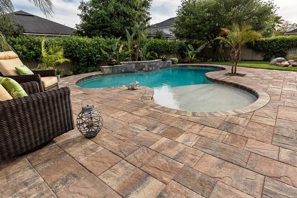 Pool Deck Pavers over Concrete Bluffton SC