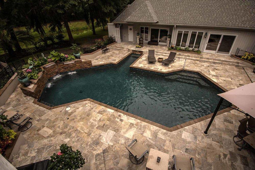 Travertine Pool Deck Designs Bluffton SC
