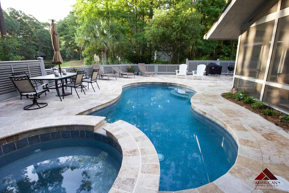 Travertine Pool Deck Contractor Bluffton SC