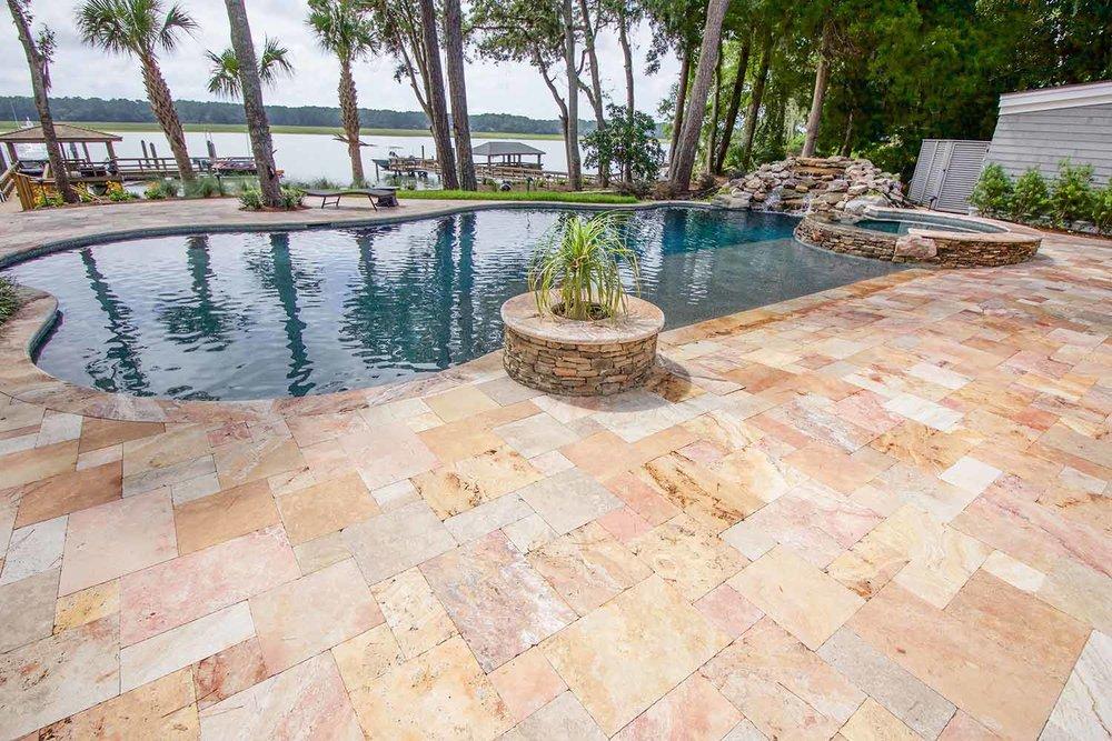 Natural Stone Pool Deck Installation Hilton Head Island SC