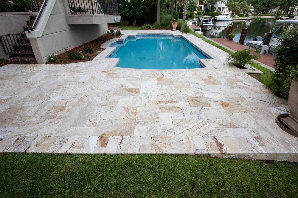 Stone Pool Deck Installation Hilton Head Island SC