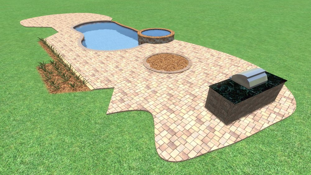 Long Cove Paver Pool Deck Design