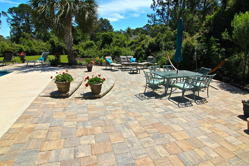 Completed paver pool deck install
