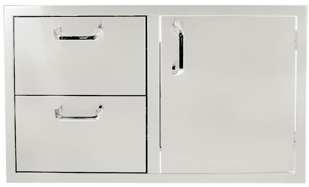 A stainless steel drawer & door combo makes storage easy!