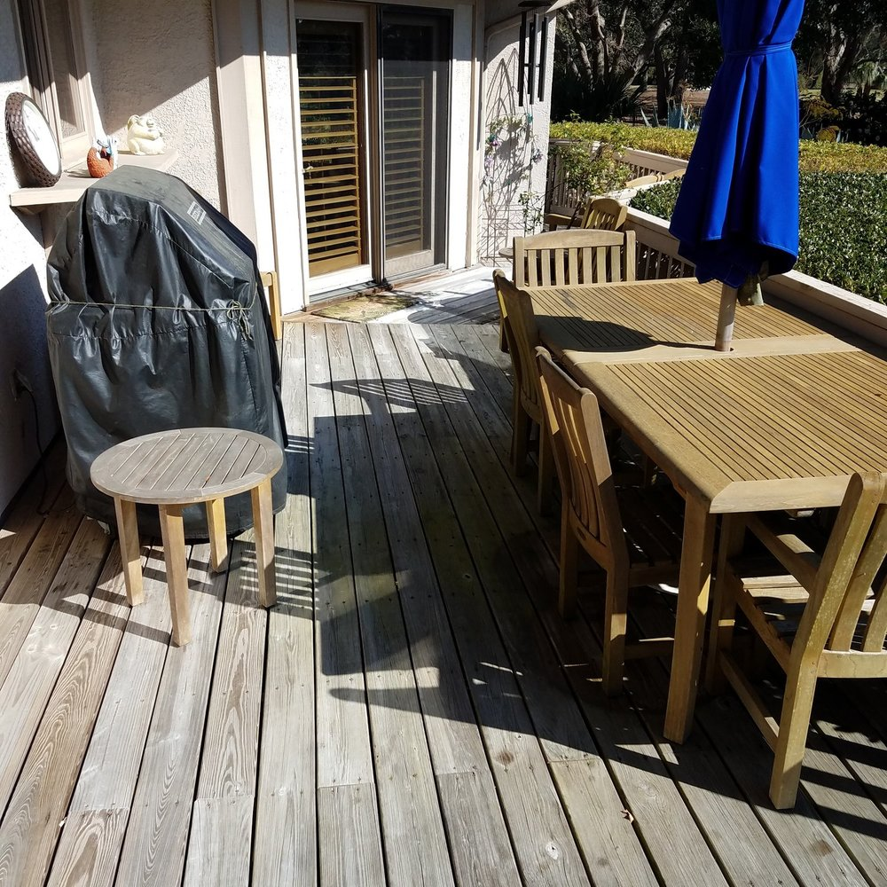 BEFORE: The old wood deck.