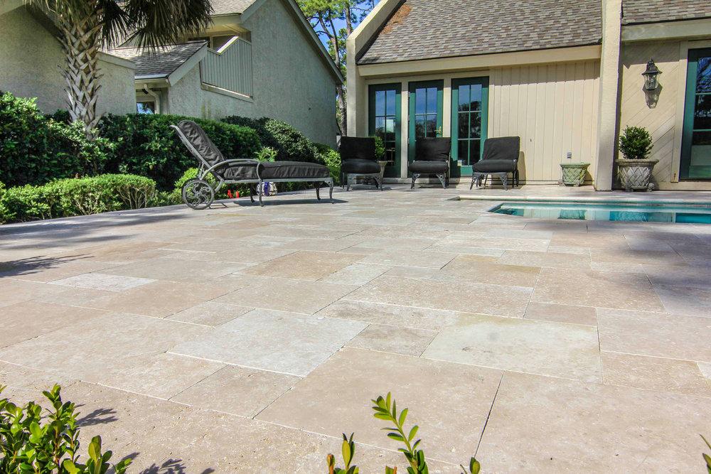 Travertine Pool Deck Installation Ideas Hilton Head Island, SC