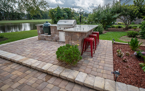Seating Walls Pictures Custom Outdoor Kitchen Paver Project