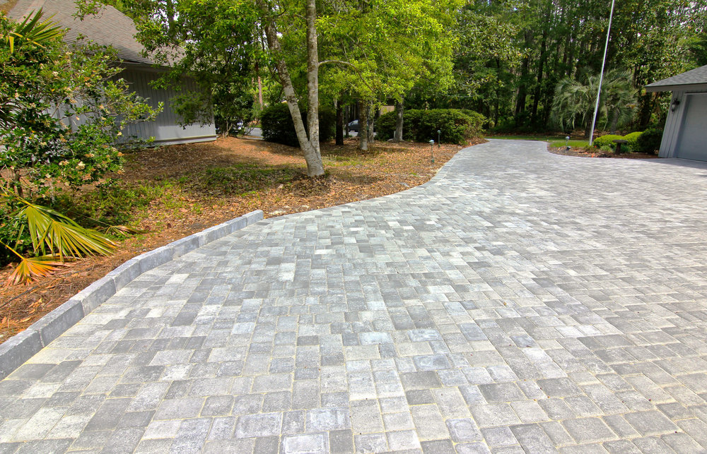 Grey Brick Paver Driveway Installation Design - Hilton Head Island, SC
