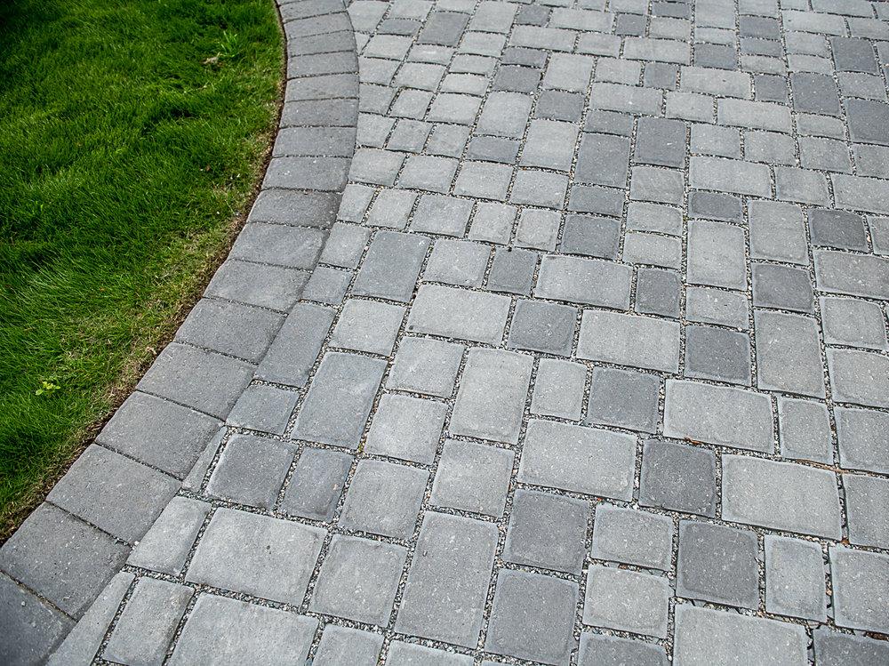 Grey Permeable Paver Driveway