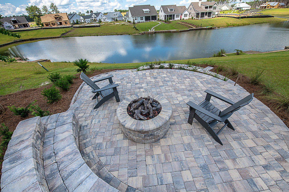 Paver Patio and Gas Burning Fire Pit