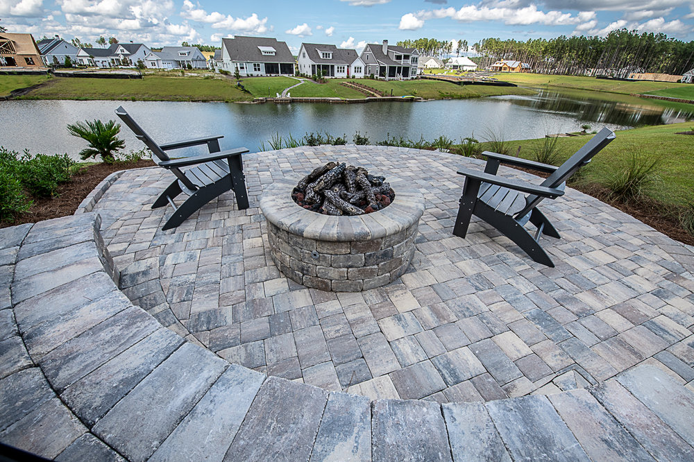 Gas Fire Pit and Seating Walls