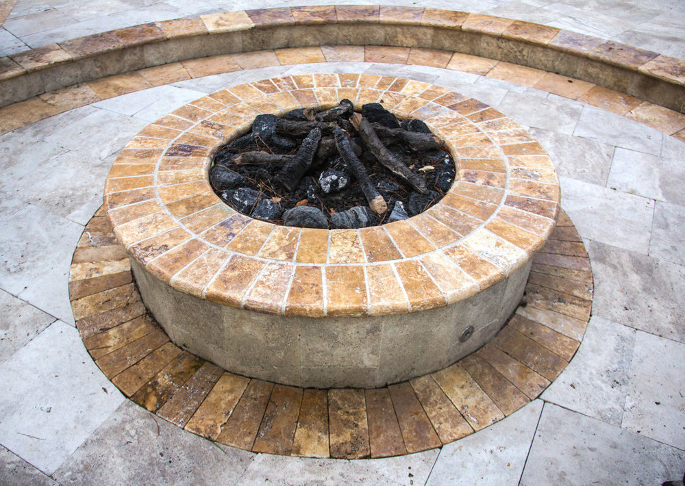 Travertine Stone Fire Pit - Gas Burning