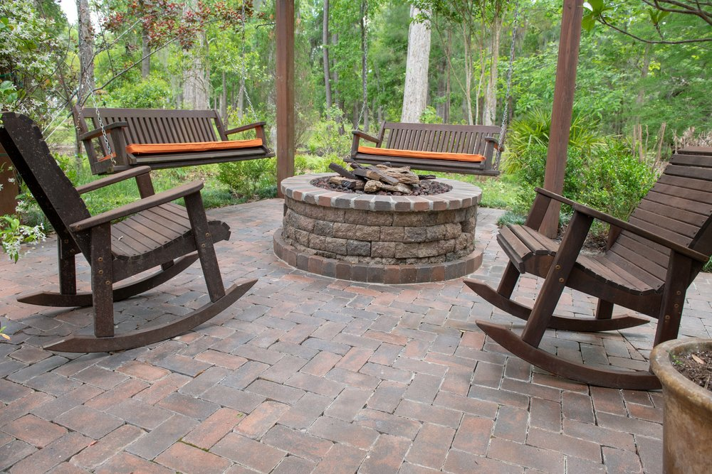 Stone Built Paver Patio Fire Pit Design and Ideas