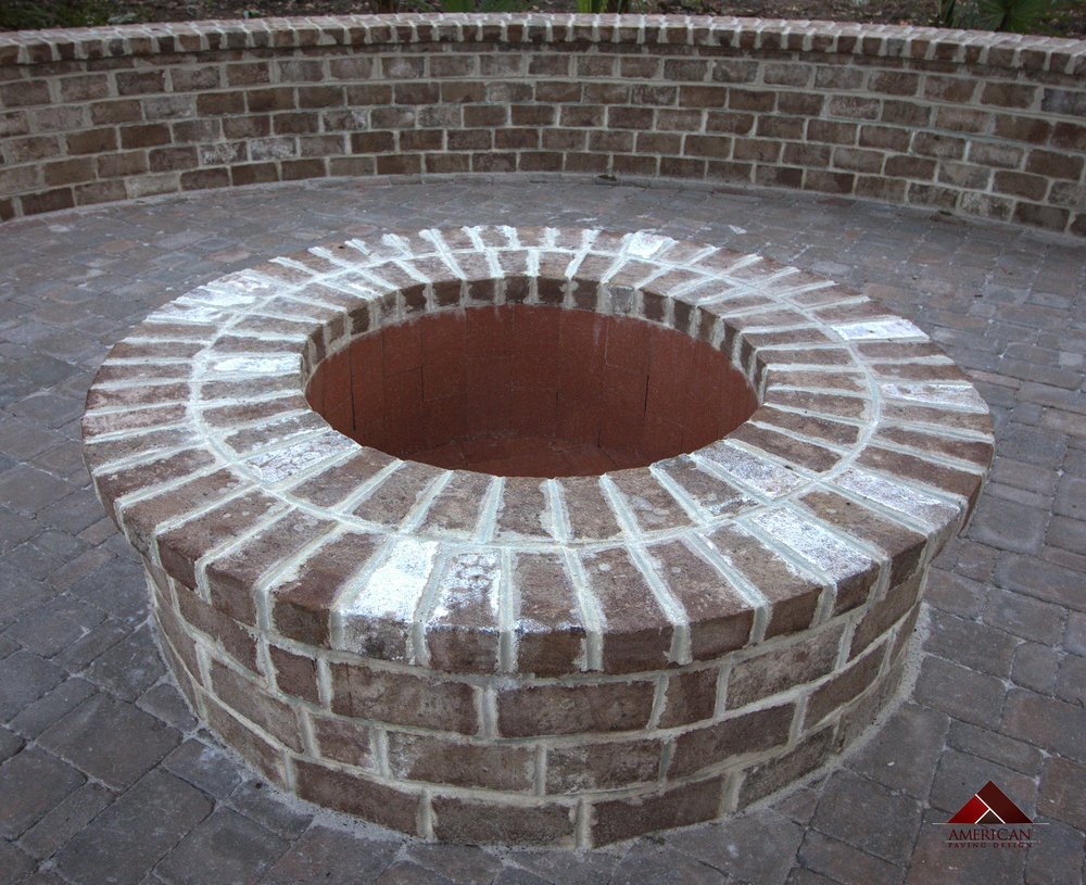 Small Savannah Grey Brick Paver Patio Fire Pit Look