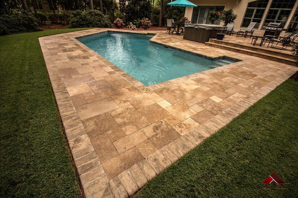 Travertine Pool Deck Coping Design