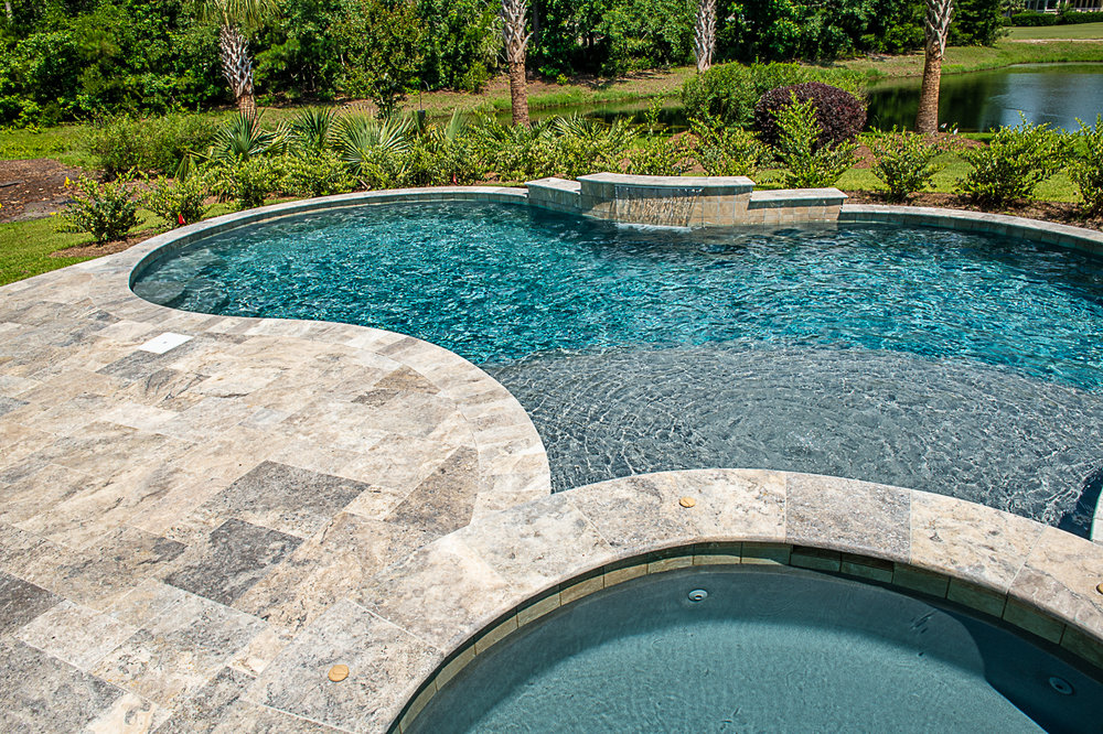 Travertine Coping Pool Remodel Picture