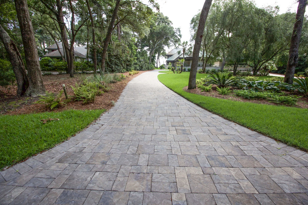 Textured Concrete Paver Driveway Installation - Hilton Head Island, SC