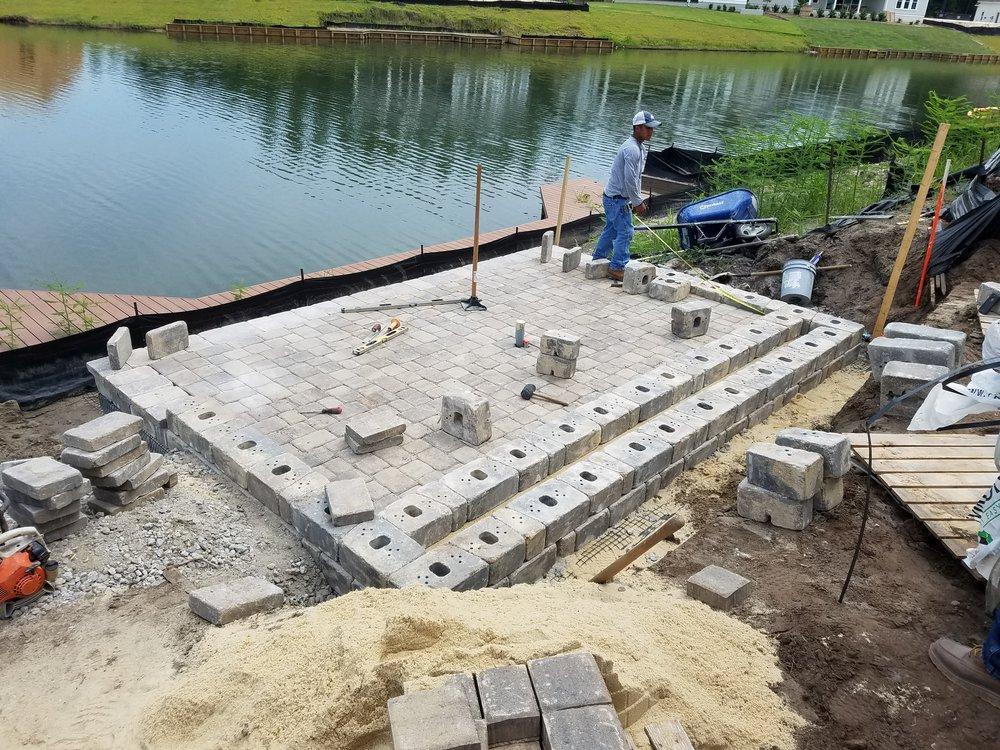 Retaining Wall Block Installation
