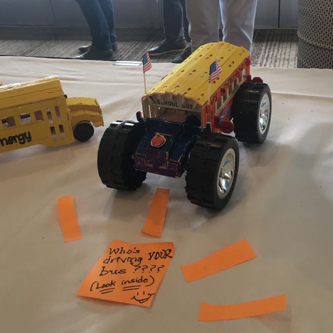 The winning school bus design. Decided on the final day of the institute.