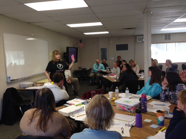 Bonnie Roybal, Downey High School ILT member, presenting to the Mammoth ILTs.