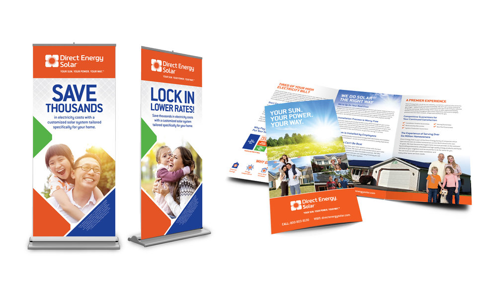 Trade show banner ups and trifold brochure.