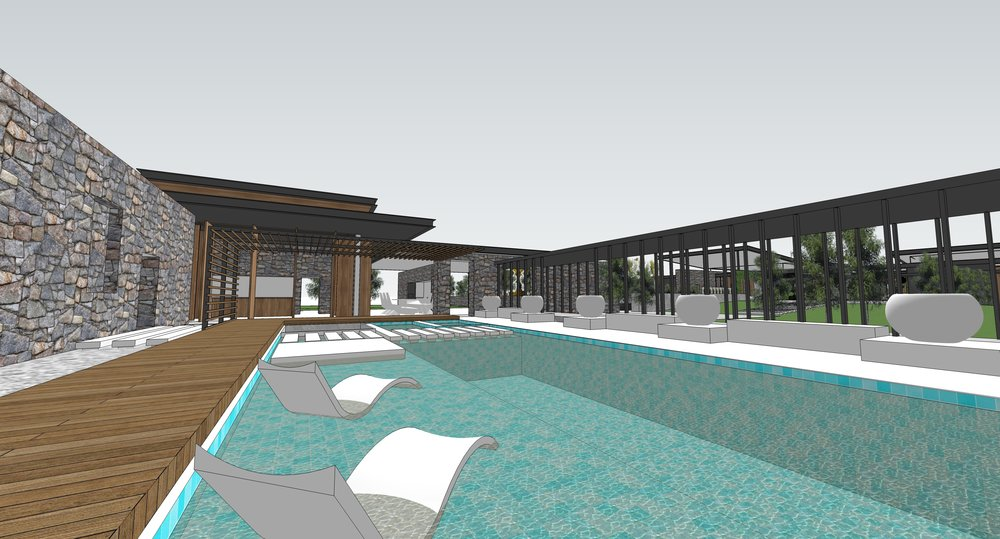 3D visual of pool and pool house.