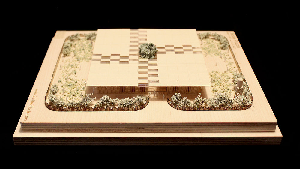 Birds eye entrance photograph of a 1 to 200 scale physical wood model of a Modular School Concept for in the Katanga region of the Democratic Republic of Congo by 3bd Architects.jpg