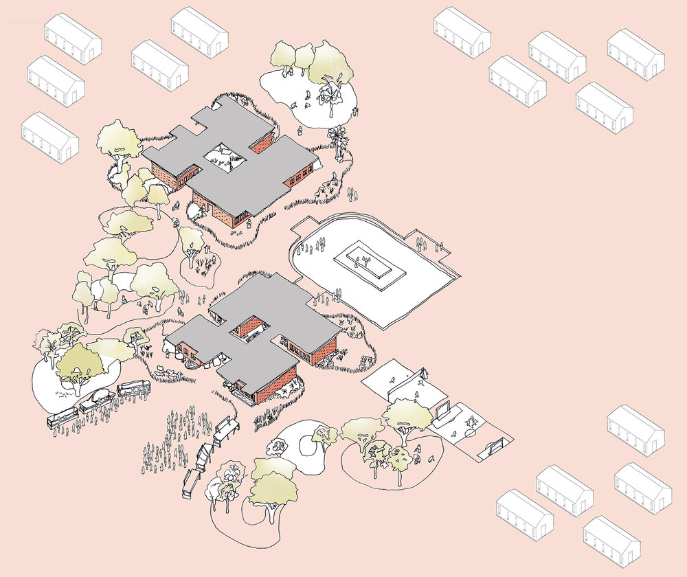 10 year plan Axonometric sketch of Modular School Concept