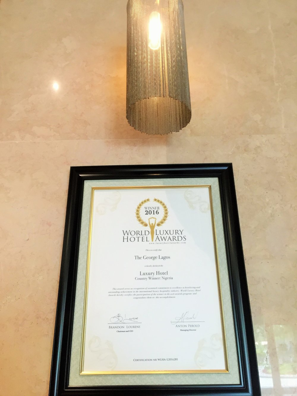 Award for World Luxury Hotel, Nigeria