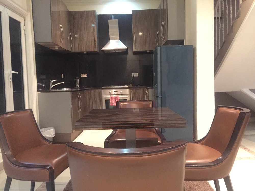 A view of the kitchen and dining area