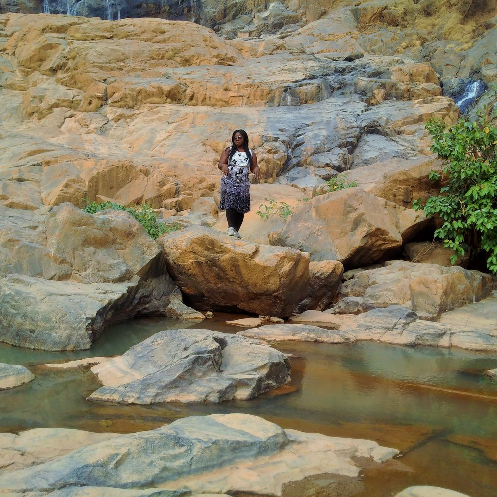 Travel journalist, The Ajala Bug, reporting from Farin Ruwa. LoL