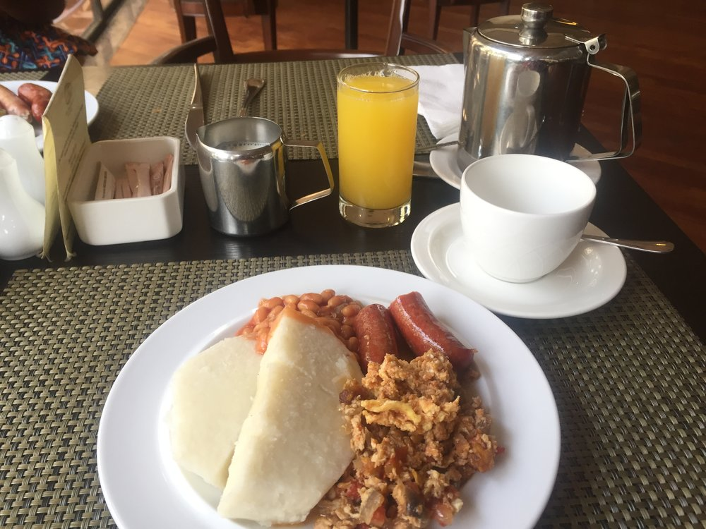 Breakfast. I had full African breakfast with Earl Grey tea. Yes, Yes, they had Earl Grey tea available.