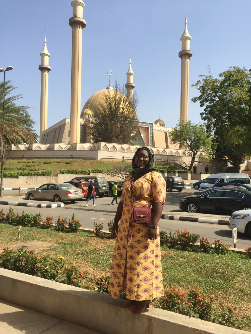 The Ajala Bug admiring the mosque which dominates the skylines