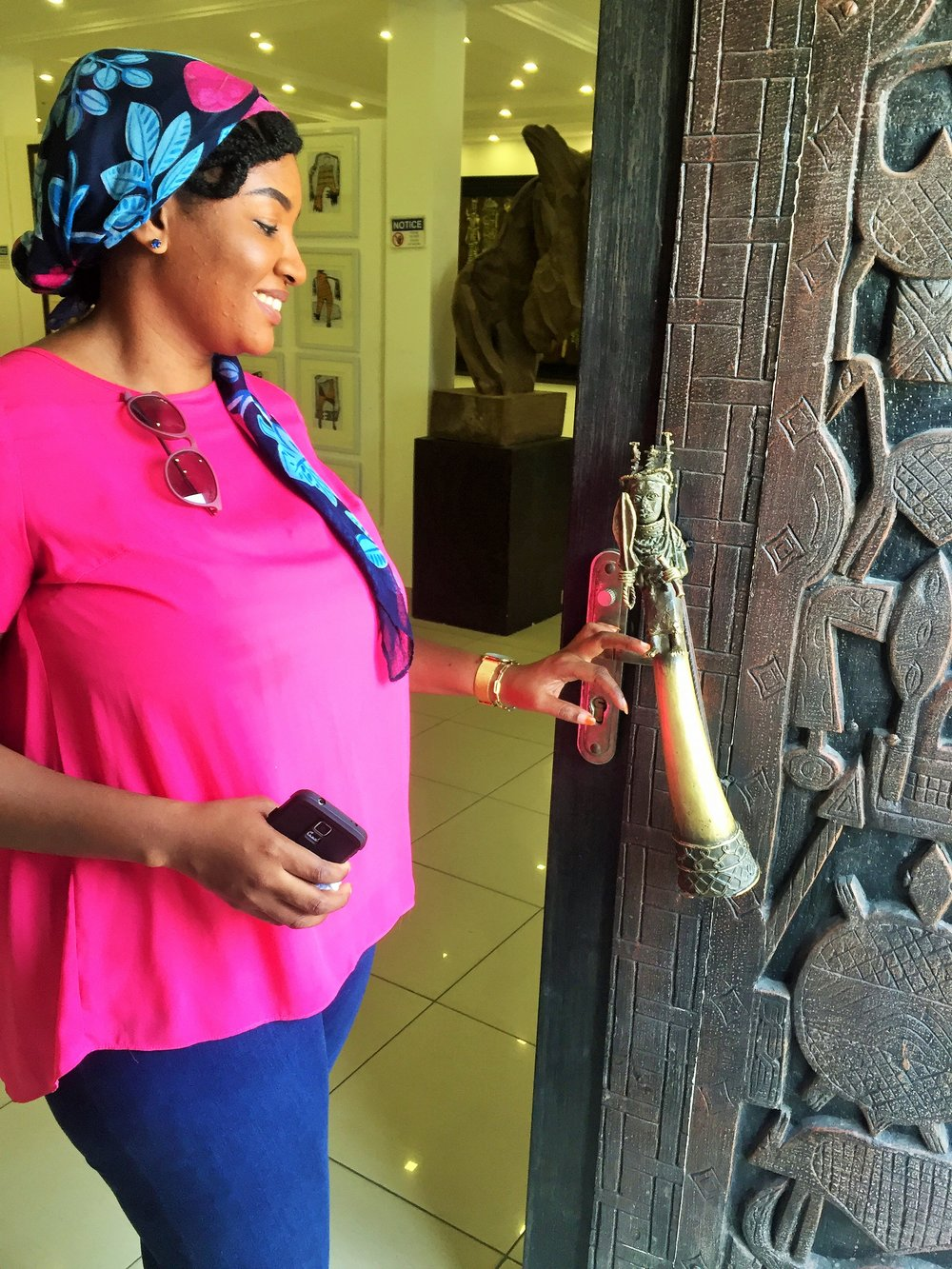 Hasana and I, checking out the fascinating and unique door & door handle