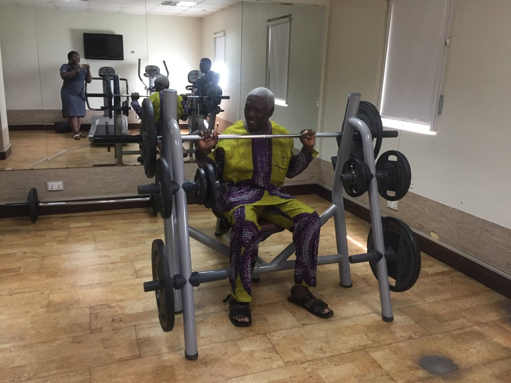 My uncle at the gym. Actually, we were all touring the hotel.