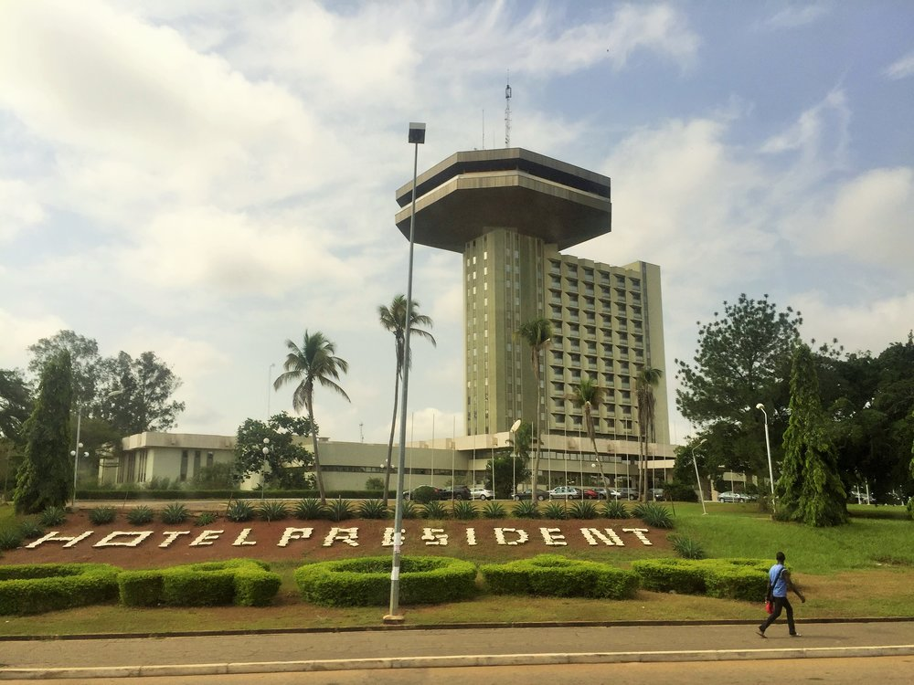 Hotel President Yamoussoukro from the window of my bus
