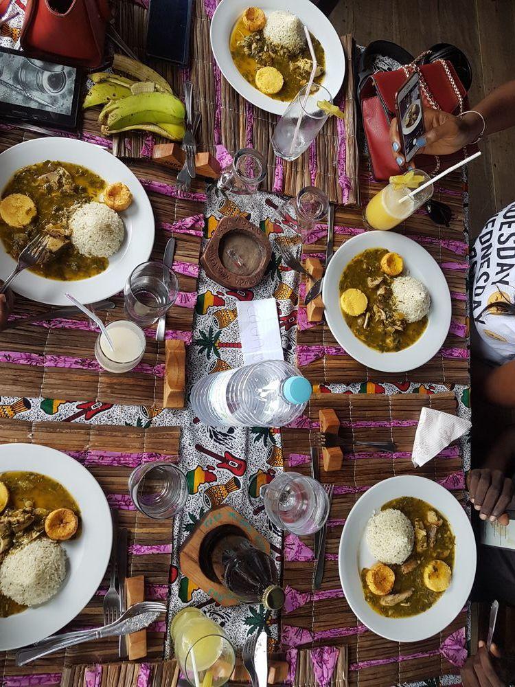 Sao Tomean delicacy, Calulu, at Roca Saudade