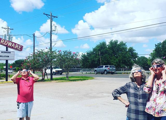 Solar eclipse has begun! Friendswood Hardware staff are ready.  #solareclipse #friendswoodhardware #thebighammer #local #hardware #friendswood #pearland #houston #tx #solareclipse2017