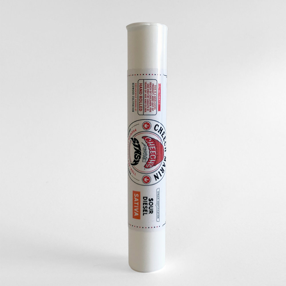 PRE ROLL | SOUR DIESEL   Inviting bag appeal touting trichome coverage that rivals kief-dusting. Dense and sticky nugs reinforce this invitation.  The classic Sour Diesel nose is present, but is accompanied by an earthy-grape flavor. A woody finish rounds out the terpene profile nicely.  The smoke feels light and airy, yet still packs a gassy punch. The smoke tastes and smells even more sharply sour than the flower.  The onset of effects are strong and immediate. The body feels stimulated, increasing circulation to carry out physical activity. Uplifting feelings make outdoor activities happily pleasant.