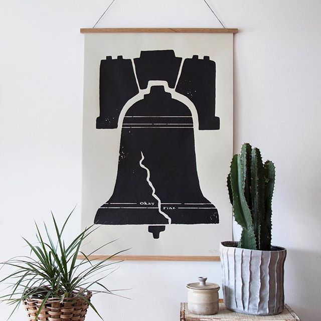 "Maybe you know a special someone on the lookout for some big art prints? Our 26""x40"" liberty bell screen print might fit the bill. Stop in to check it out during our open hours 12-5pm today! Also available online, of course."
