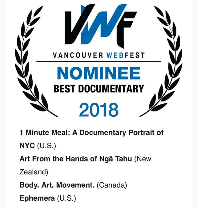 We are excited to announce that Ephemera is an official selection and nominee for best documentary at the @vanwebfest