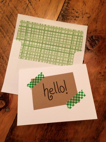 52 Weeks of Mail: Week 3 Care Package 3 Hello Card Green Washi Tape