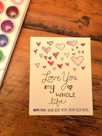 52 Weeks of Mail: Week 6 Watercolor Valentine's Day Cards 4