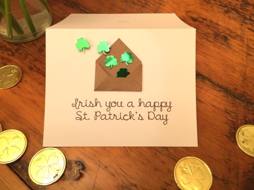 52 Weeks of Mail- Week 11 St. Patrick's Day 2 4 leaf clover card tiny envelope