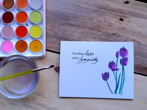 52 Weeks of Mail- Week 13  Sympathy Card 2 Water Color Tulips